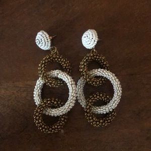 White and Gold Hoop Earrings